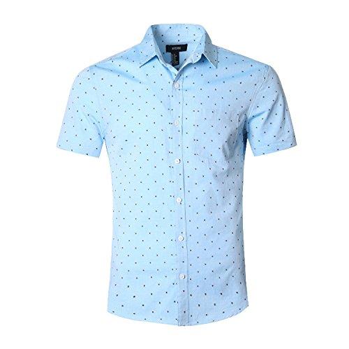 - NUTEXROL Men's Regular-Fit Short-Sleeve Oxford Shirt Button Down Collar Dress Shirts Blue&green 3XL
