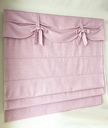 - Custom Flat Roman Shade With Valance And Decorative Bows In Choice Of 4 Colours