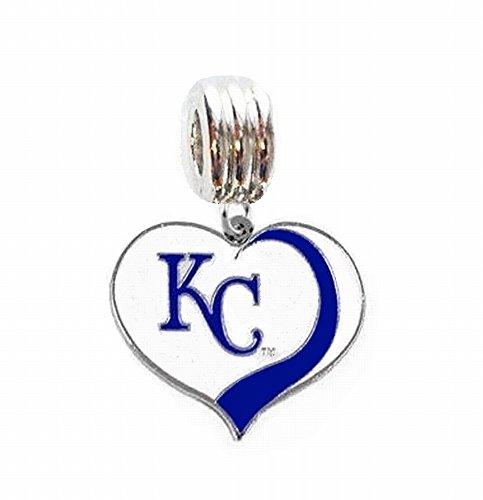 Kansas City Royals Charm - KC KANSAS CITY ROYALS BASEBALL TEAM HEART CHARM SLIDER PENDANT FOR YOUR NECKLACE EUROPEAN CHARM BRACELET (Fits Most Name Brands) DIY PROJECTS ETC