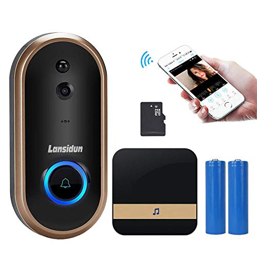 Smart Video Doorbell, Lansidun WiFi Video Doorbell 720P HD 2-Way Talk Home Security Doorbell Camera with 16GB Storage Card Free Cloud Storage 2 Rechargeable Battery App Control for iOS Android Google