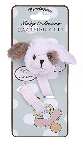 Bearington Baby Wiggles Plush Pink Puppy Dog Pacifier Holder with Satin Leash and Clip ()