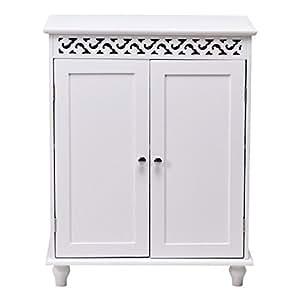 Amazon.com: White Wooden Bathroom Floor Storage Cabinet 2