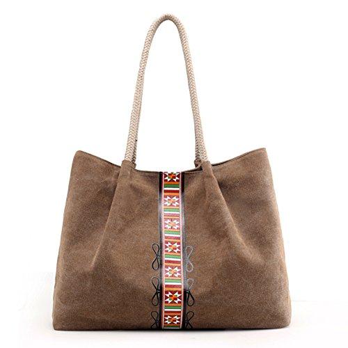 Messenger Hobo blu Donna Shoulder Handbag Tela Borse Tracolla Pacchetto Elegante A Vintage Marrone De Bag Nclon Semplice Capacità Grande ZYHwqRw