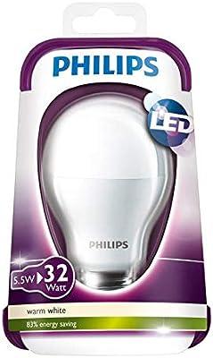 Philips LED Lampe E27 7W (32W) warmweiß 350 lm, Bombillas
