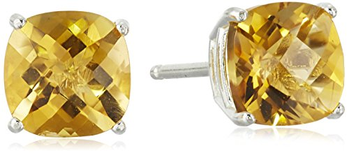 Sterling Silver Cushion Checkerboard Cut Citrine Studs - Citrine Earrings Checkerboard