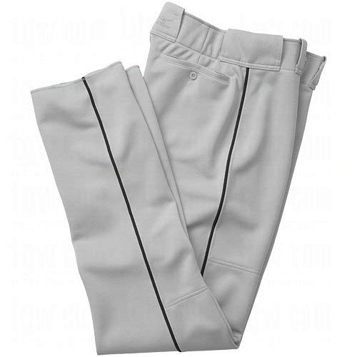 Mizuno Men's Premier Full Length Relaxed Piped Pant (Grey-Black, X-Large)