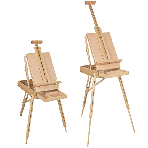 (Gorgeous French Elm Wood Easel Wooden Sketch Box Portable Folding Art Artist Painters Tripod Great For Artists or)