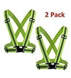 Veatree 2 Pack Reflective Gear, Lightweight Adjustable Elastic Safety High Visibility Vest for Running Jogging Walking Cycling Motorcycle