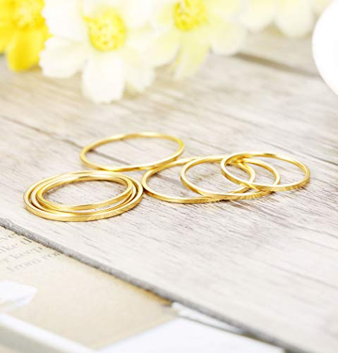 LOYALLOOK 14Pcs Thin Stacking Rings Stainless Steel 1MM Knuckle Midi Ring for Women Girls Silver-Tone Gold-Tone,Size 3-9 by LOYALLOOK (Image #3)