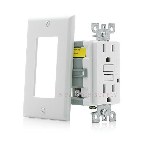 Paladin 15A Tamper Resistant GFCI GFI Receptacle Outlet w/ Wallplate & LED Indicator - UL Certified, White, 15 Amp 125v (1 Pack) ()