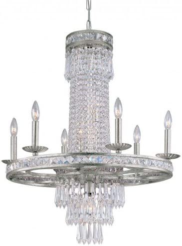 Crystorama 5266-OS-CL-MWP Crystal Six Light Chandeliers from Mercer collection in Pwt, Nckl, B S, Slvr.finish,