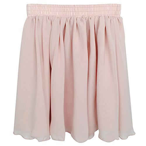 Topro Retro Elastic High Waist Pleated Double Layer Chiffon Short Mini Skirt Dress Color Pink