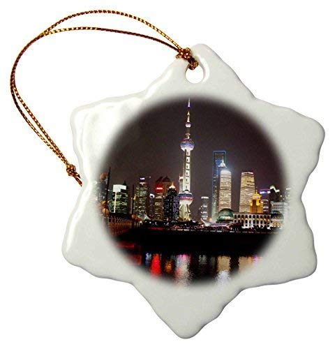 Jared Snowflake Ornament Shanghai Skyline at Night with Reflections, Shanghai, China - Snowflake Ornament, Porcelain, 3-Inch BH571838 -