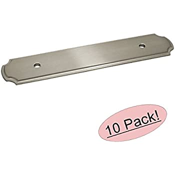 "Cosmas B-112-96SN Satin Nickel Cabinet Hardware Handle Pull Backplate / Back Plate - 3-3/4"" Inch (96mm) Hole Centers - 10 Pack"