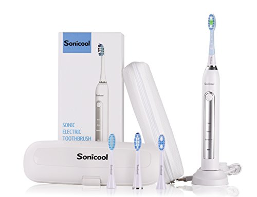 Sonicool Sonic Electric Toothbrush 48000 Vibrations Deep Clean As Dentist Rechargeable Toothbrush 2 Minutes Timer 3 Brushing Modes 4 Replacement Heads (White Electric Toothbrush)