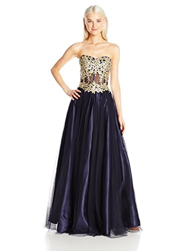 Blondie Nites Junior's Long Strapless Applique Ballgown, Navy/Gold, 13
