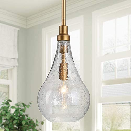 KSANA Gold Glass Pendant Lighting for Kitchen Island, Bedroom, Dining Room, Entryway, Sink, Breakfast Nook