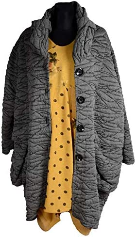 Damen Wolle Lagenlook Ballon Wintermantel Mantel Swinger 44 46 48 50 52 54 56 58 60 L XL XXL 3XL 4XL Grau Übergang Winter