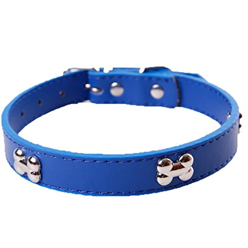 haoricu Pet Collar, Small Dog Collars Bling Crystal with Bone Necklace Puppy Cat (M, Blue 2)