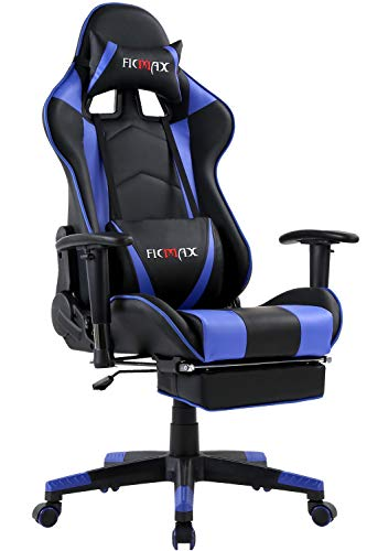 Ficmax Massage Gaming Chair Reclining Racing Office Chair High Back Video Game Chair Ergonomic Gamer Chair with Footrest Height Adjustable Computer Chair with Headrest and Lumbar Support(Black/Blue)