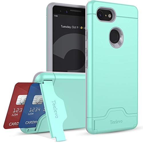 Teelevo Wallet Case for Google Pixel 3 - Dual Layer Case with Card Slot Holder and Kickstand for Google Pixel 3 (2018) - Mint Green