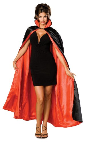 Rubie's Long Satin Cape,Black/Red,One Size Costume -
