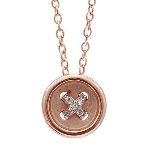 10K Rose Gold Diamond Accent Button Shape Pendant