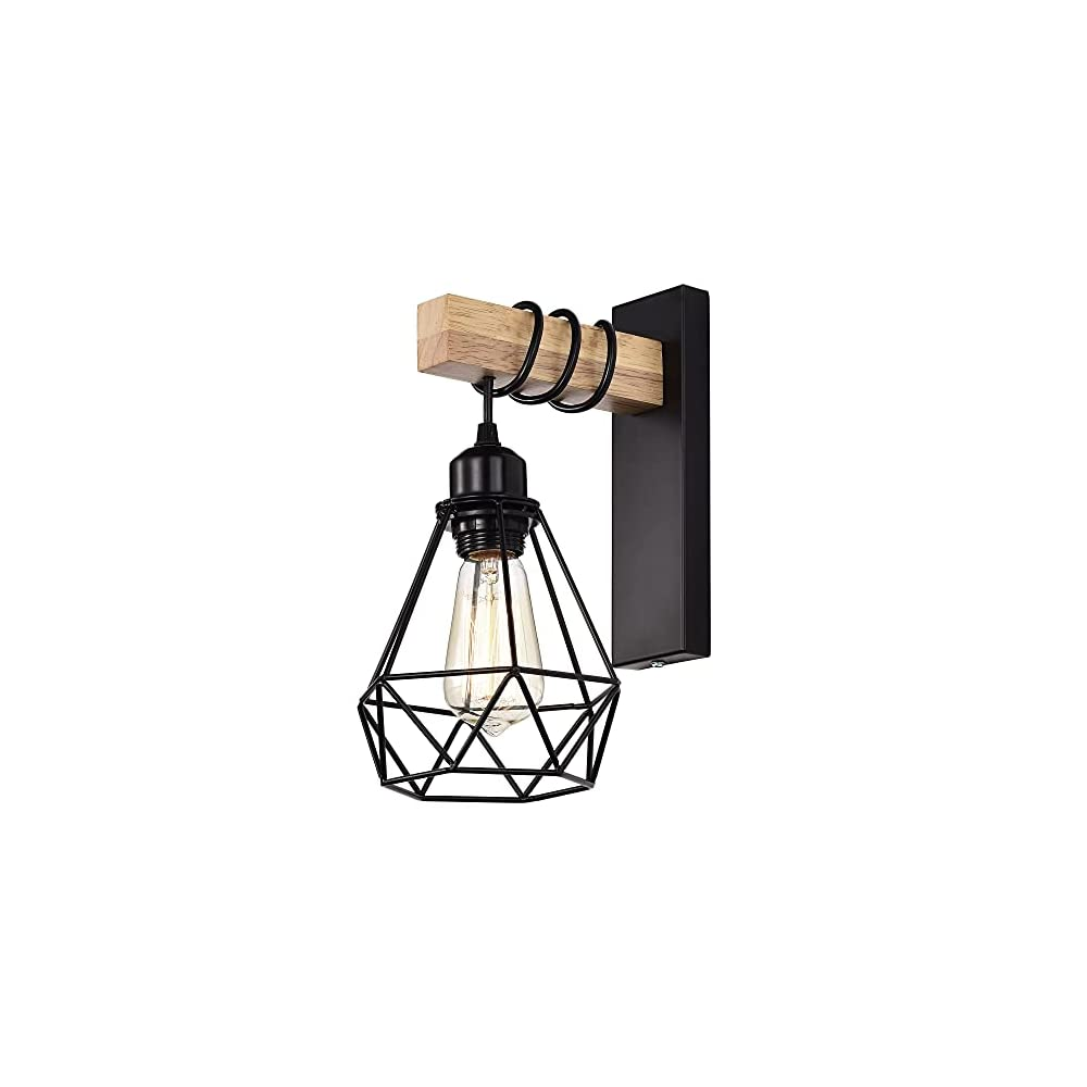 Wall Sconces Black Wall lamp 1 Light Wall Light Fixtures Industrial Cage Wall Mount Light Fixture Indoor Farmhouse Wall…