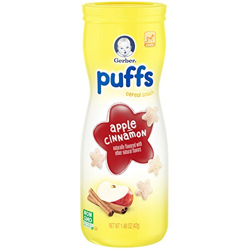 Gerber Graduates Puffs Cereal Snack, Apple Cinnamon, Natu...