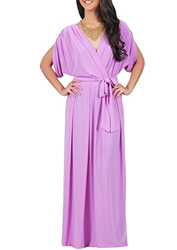 [Eunice Ca Fashion Womens Long Formal Short Sleeve Cocktail Flowy V-Neck Gown Pleated Casual Semi Formal Work Office Day Evening Elegant Maxi Dress, Color Purple, Size Medium M 8-10] (Western Day Dress Up Ideas)