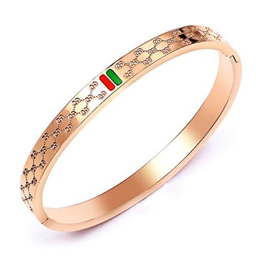 Amrdy Titanium Steel Bangle Womens Fashion Classic Lovely Brilliance Bracelet - Titanium Steel Red and Green Bracelets