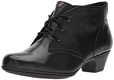 ROCKPORT Cobb Hill Women's Aria Ankle Boot, Black Leather, 5.5 M US