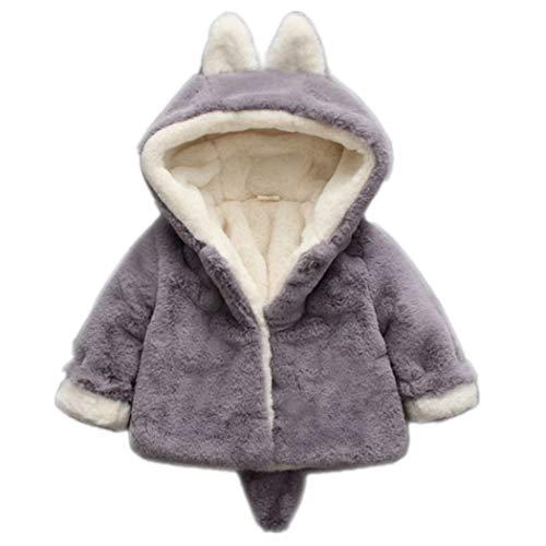 ElegantLady Baby Girls Autumn Winter Hooded Cotton Coat Jacket Warm Clothes Grey 73