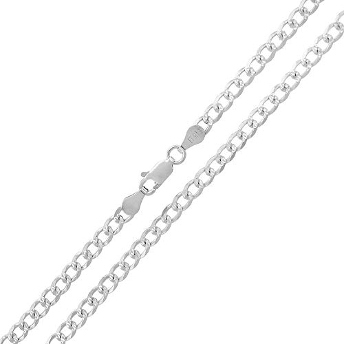 Silver Pave Curb Chain - Verona Jewelers 925 Sterling Silver 4.5MM 5MM Diamond Cut Curb Cuban Necklace, Pave Cuban Chain, Diamond Cut Silver Curb Chain, Cuban Link Chain (18, 4.5MM)