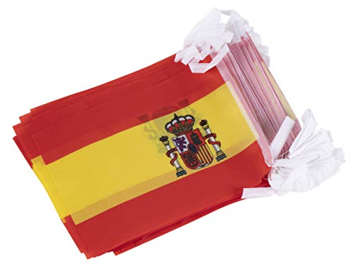 Juvale Spain String Flags - 100-Piece Pennant Banner Hanging Decoration, Spanish Flag Garland for Indoor Outdoor Display, 5.75 x 8 Inches, 82 Feet Total Length