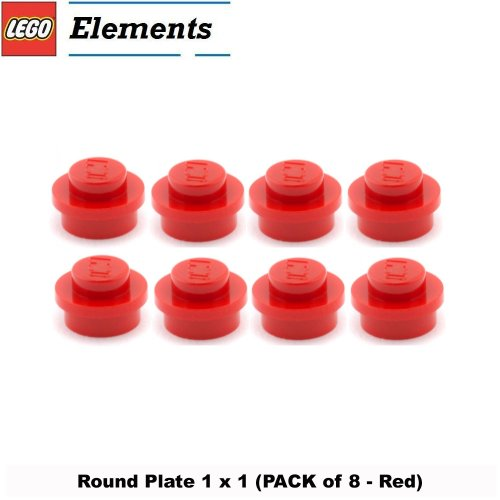 1x8 Lego (Lego Parts: Round Plate 1 x 1 (PACK of 8 - Red))