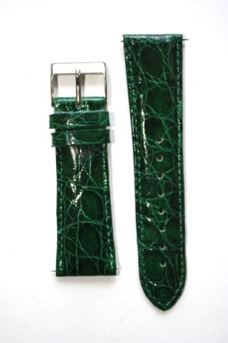 22mm Forest Green Genuine Crocodile with Quick-Release Pins for Michele Style (22 Mm Forest Green)