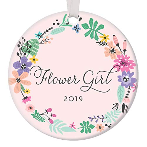 Flower Girl Christmas Ornament 2019 Will You Be? Bride Wedding Party Proposal Ask Niece Young Sister Little Child Pretty Pink Holiday Keepsake Present 3