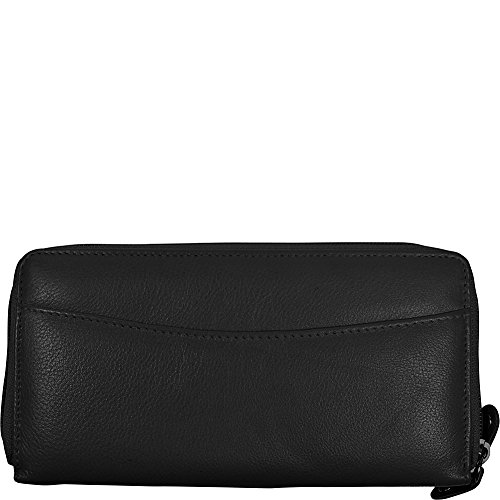 Budd Leather RFID Calf Double Zip Credit Card Wallet (Black)