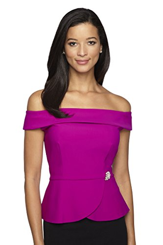 Alex Evenings Women's Off The Shoulder Blouse L Fuschia by Alex Evenings