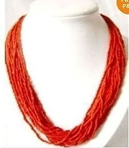 Fashion Genuine 2-3mm Red MULTI STRAND Tibet CORAL SEED BEAD NECKLACE - Coral 3 Strand Necklace