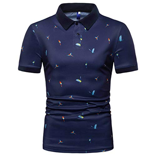 Mens Swift Hybrid Jacket - TANGSen_Mens Fashion Short Sleeve Top Spring Summer Print Large Size Casual Polo Tops Button Simple Blouse Navy