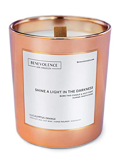 Benevolence LA Scented Candles Soy Candles - Aromatherapy Candles Relaxing Candles Rose Gold Glass Decorative Candle Perfect Scented Candles for Home Decor and Stress Relief (Eucalyptus Orange)