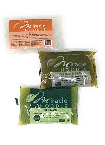 Italian Herb Pasta Sauce - Miracle Noodle Gluten Free Zero Carbs Keto Blood Sugar Friendly Shirataki Pasta Italian Style Variety Bundle of THREE 7-Ounce Packages: One Each of Spinach Angel Hair, Garlic Herb Fettucine, and Ziti