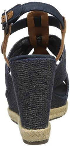 Tommy Hilfiger Jeans compensées Denim 25C Metallic femme Sandales Lively Bleu wrwx15Ydq