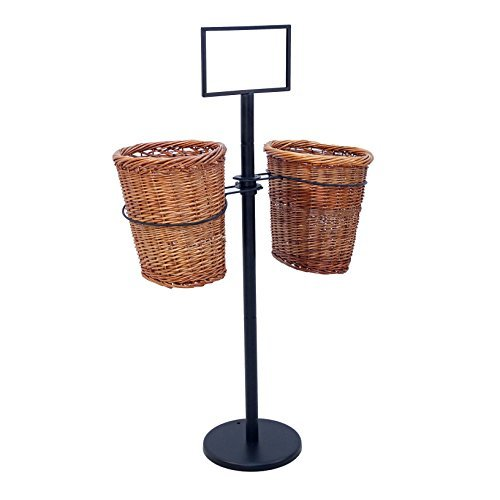 2 Oval Willow Basket Display with Sign Frame and Sign Clips