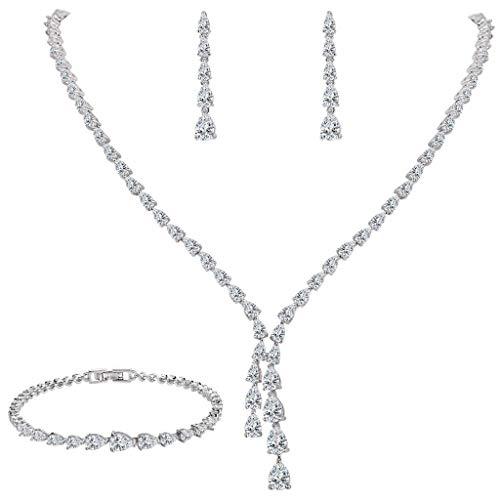 EleQueen Women's Silver-tone Full Cubic Zirconia Teardrop Bridal Necklace Set Tennis Bracelet Dangle Earrings Clear by EleQueen