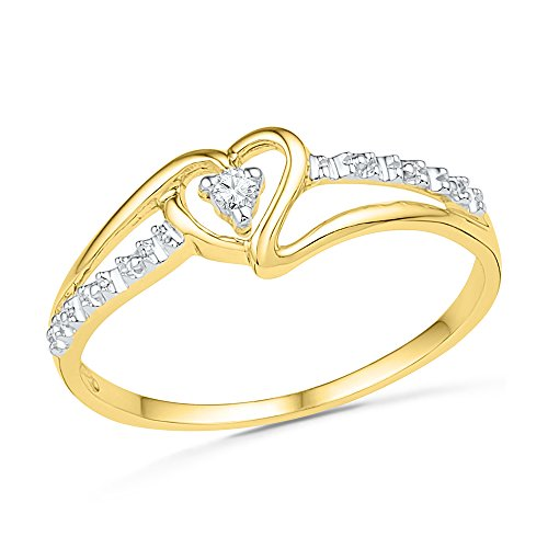 Estella Collection (Lovely Promise Ring Featuring A Sparkling Heart In 10K Yellow Gold And A Diamond (0.03)