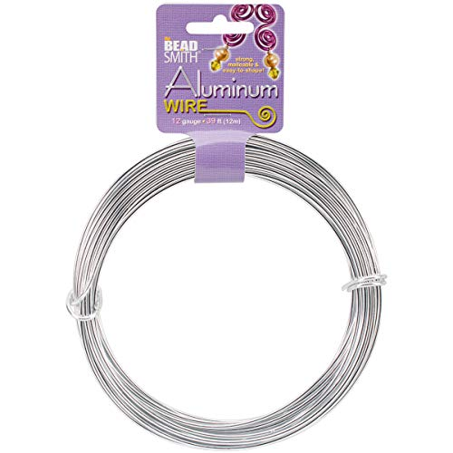 Beadsmith DA2602 Aluminum Wire 12 Gauge 39' Coil-Silver