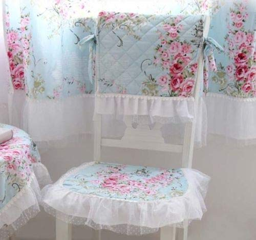 FidgetFidget French Country Cottage Shabby Chic Floral Rose Blue Pink Table Cloth one Set of Chair pad and Chair Back Cover